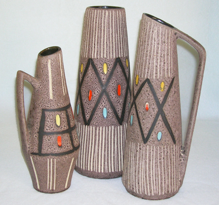 trio of vintage 1950s Fat Lava vases
