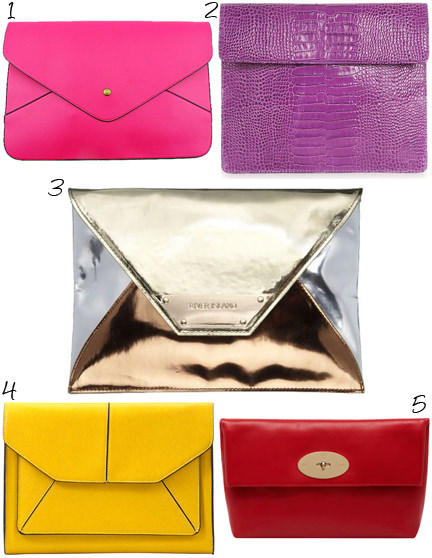 selection of 5 ladies' clutch bags