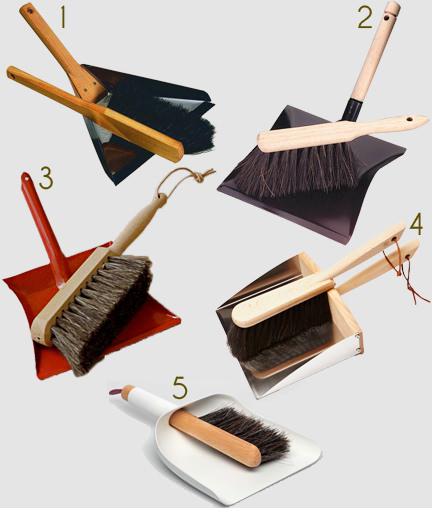 selection of 5 dustpan and brush examples