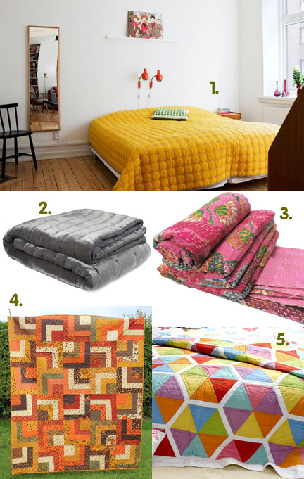 selection of five quilts