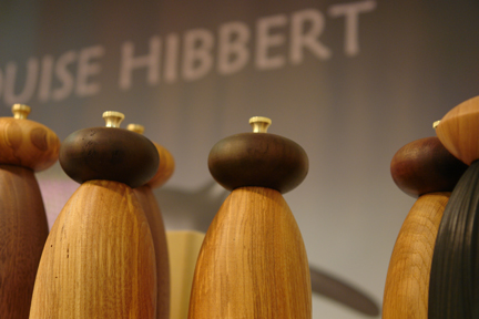 display of Louise Hibbert's wooden salt & pepper mills