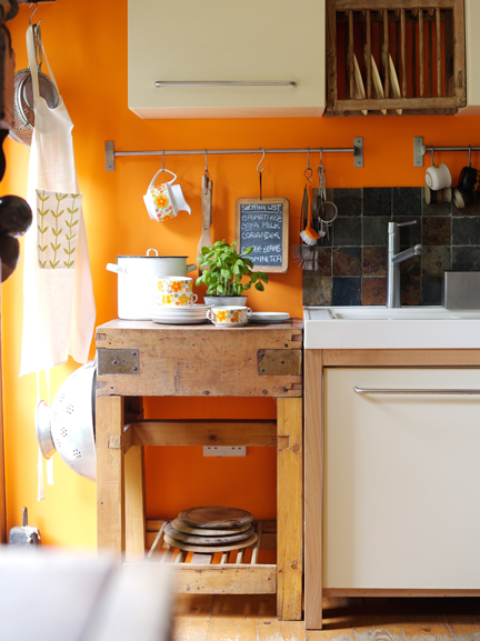 Butchers block in H is for Home's kitchen area