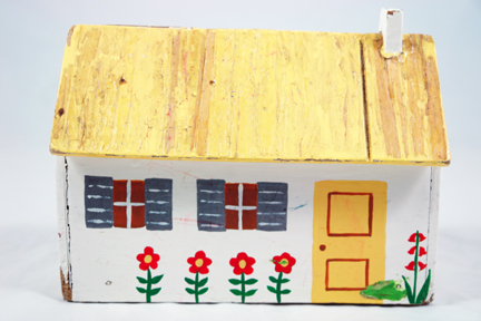 vintage handmade hand painted wooden house with yellow roof & door