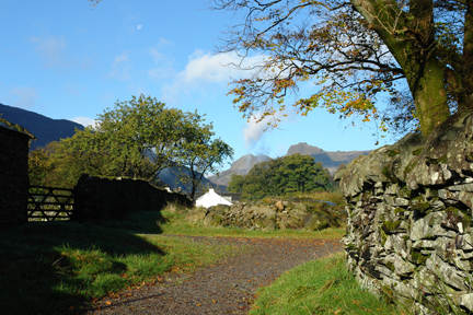 road dry stone wall and farm gate, Chapel Style, Little Langdale, Lake District, Cumbria