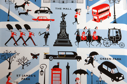 lid from a limited edition Marks and Spencer biscuit tin produced to commemorate the 2012 London Olympic Games decorated with illustrations of London landmarks