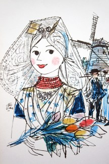 KLM menu illustration by Otto Dicke depicting a girl in traditional Dutch costume
