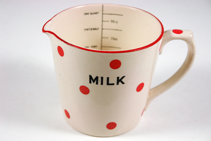vintage 1950s red polka dot pottery milk jug