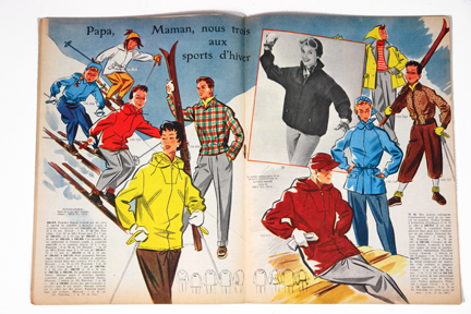 "ski-ing article from vintage 1950s French ""L'Echo de la Mode"" magazine"