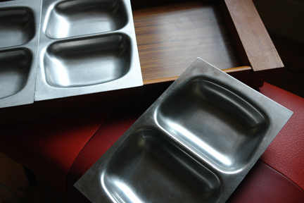 vintage Old Hall teak & stainless steel serving dish
