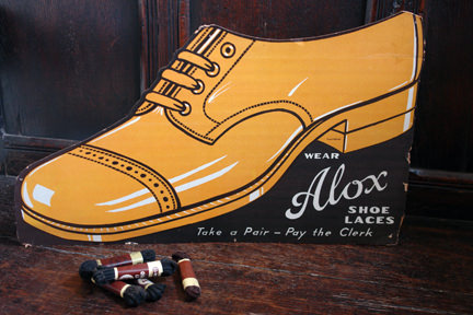 vintage US cardboard advertising sign for Alox shoelaces