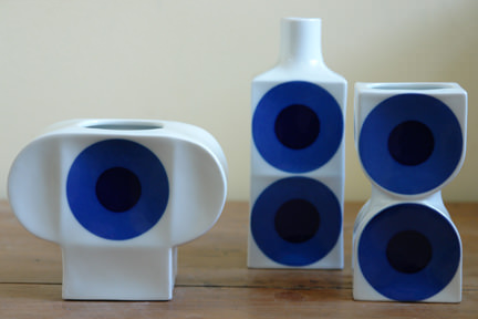 trio of vintage blue circle Altenkunstadt vases