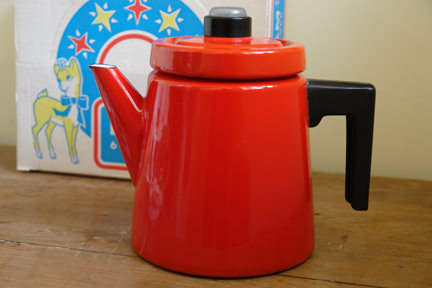 vintage red enamel Finel coffee pot designed by Anti Nurmesniemi