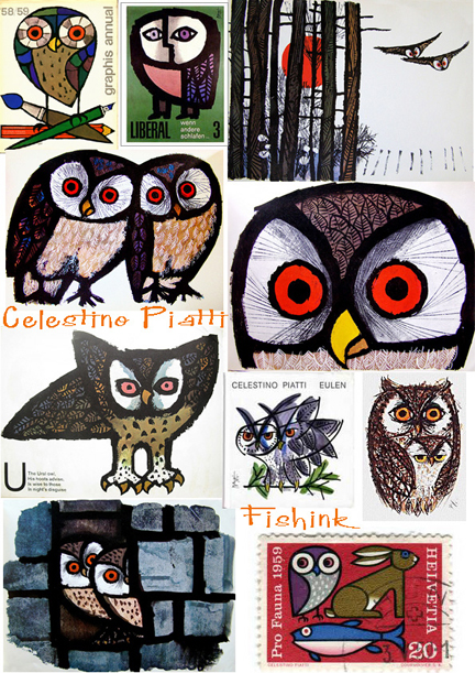 mosaic of vintage Celestino Piatti owl illustrations