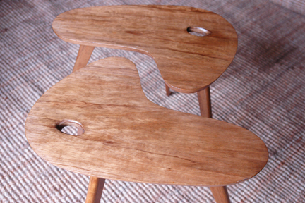 pair of vintage 1950s palette topped teak tables with splayed legs