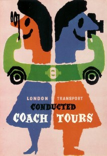 """vintage 1960 London Transport postcard. """"Conducted Coach Tours"""" designed by Abram Games"""