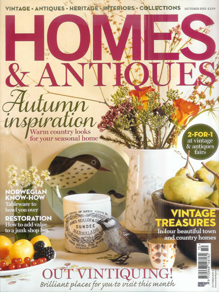 October 2012 Homes & Antiques magazine cover