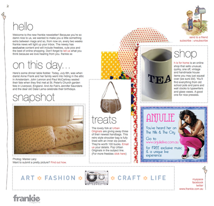 July 2009 Frankie Magazine screen shot