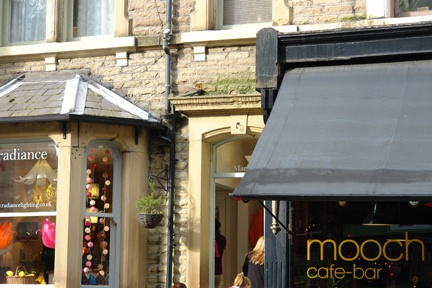 Exterior view of Radience lighting shop in Hebden Bridge next door to Mooch cafe