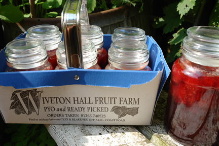 homemade jam made with strawberries we picked at Wiverton Farm on the North Norfolk coast