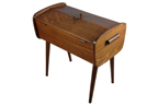 vintage wooden sewing box on legs