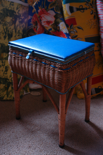 vintage white painted wicker sewing box on legs with blue lid