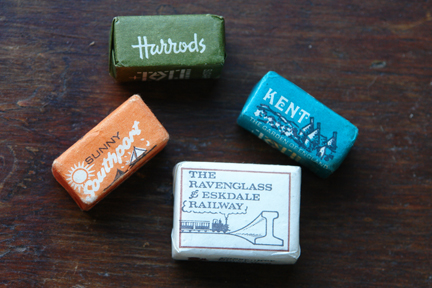 old paper wrapped sugar cubes including Harrods, Sunny Southport, Kent and Ravenglass