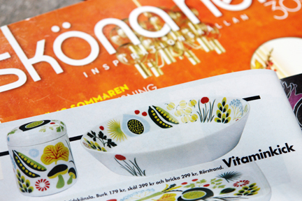 contemporary Swedish interiors magazine featuring new Rorstrand pottery items