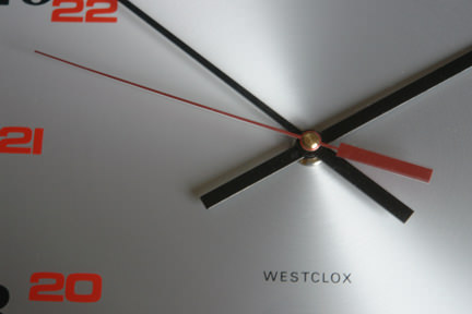 close up view of centre of vintage Westclox clock face