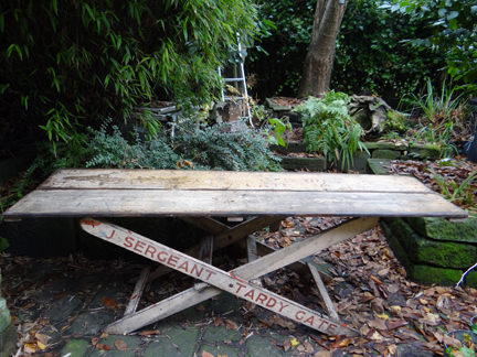 vintage wooden trestle table from J Sergeant, Tardy Gate, Lancashire