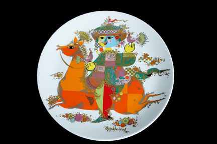 """1001 Nights"" porcelain charger designed by Bjørn Wiinblad for his Rosenthal Studio Line"
