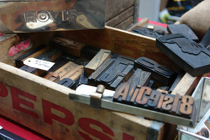 range of industrial vintage items for sale on the PASH stall