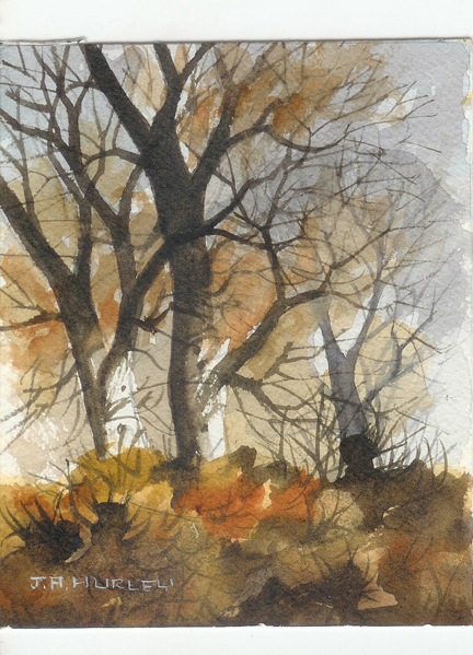 "small watercolour painting entitled, ""Bent Trees, Mitton Flats, Clitheroe"" by J A Hurley"