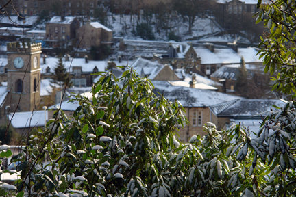 Todmorden Town centre in the snow