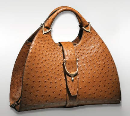 Gucci Stirrup tan coloured ostrich skin handbag seen in Stylist Magazine