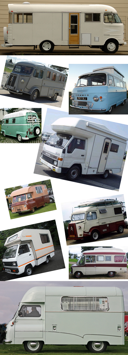 collage image of various vintage camper vans