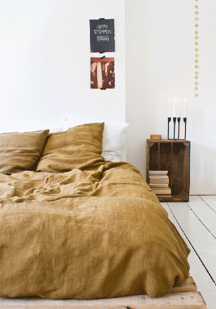 Bodie and Fou mustard linen duvet cover