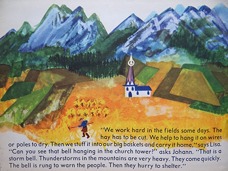 Haymaking scene from the 'Austria' book from the World Dolls Series