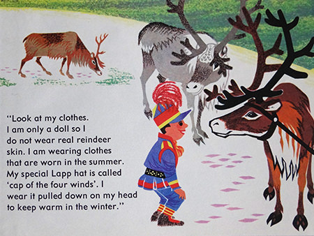 Lapp child with reindeer in World Dolls Series 'Norway' vintage children's book
