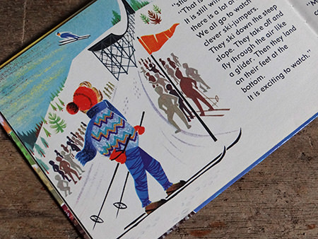 Ski jump with reindeer in World Dolls Series 'Norway' vintage children's book