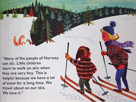 Skiers with reindeer in World Dolls Series 'Norway' vintage children's book