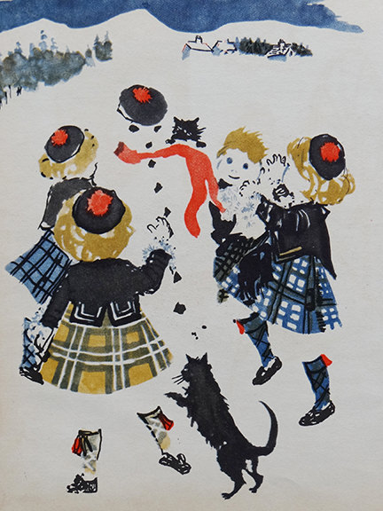 vintage World Dolls Series Scotland children's book with illustration of children wearing tartan outfits playing with a snowman