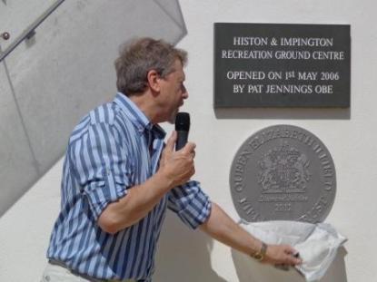 Max Parish unveling QE Field plaque at the Rec