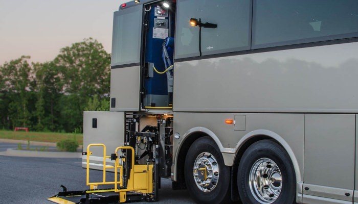 Charter Bus with Wheel Chair Lift - ADA Accessible Coach