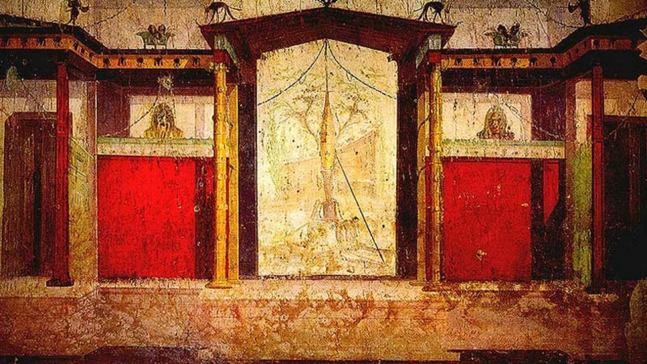 Antico Dipinto Murale Romano Hisour Ciao Cosi Sei