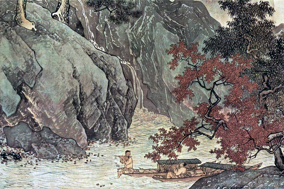 Chinese old painting Sansui Travelers amid mountains by Tang Yin in Ming dynasty
