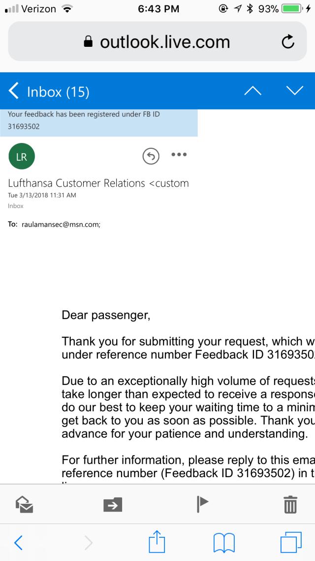 Lufthansa Customer Service Complaints Department  HissingKitty.com
