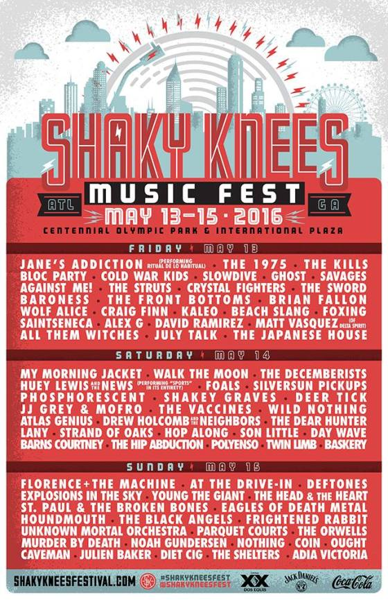Shaky Knees bands by day