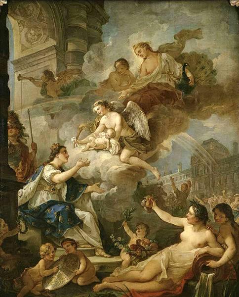 """""""Allégorie de la naissance de Marie-Zéphyrine de France"""", par Charles-Joseph Natoire"""