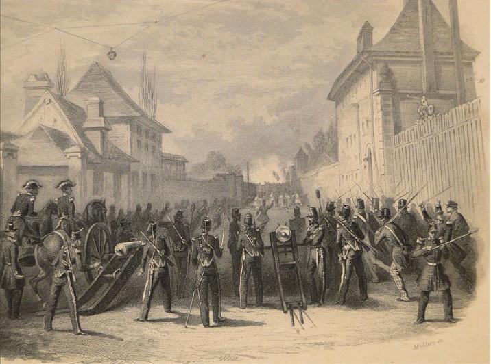 Une barricade contre les émeutiers rouennais en juin 1848.
