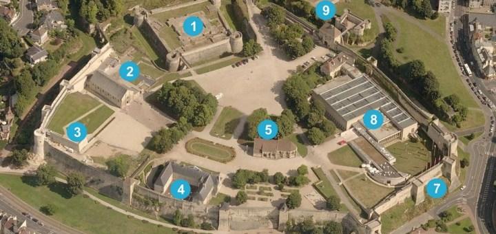 Vue aérienne du château fort de Caen